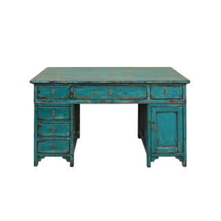 Chinese Distressed Blue 3 Pieces Editor Writing Desk For Sale