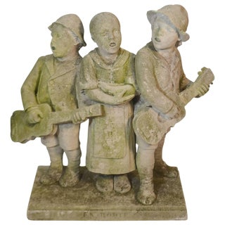 Carved Stone Statue of Children Standing and Singing For Sale