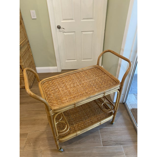 Vintage 1970s Boho Chic Bamboo Rattan Bar Cart For Sale In West Palm - Image 6 of 10
