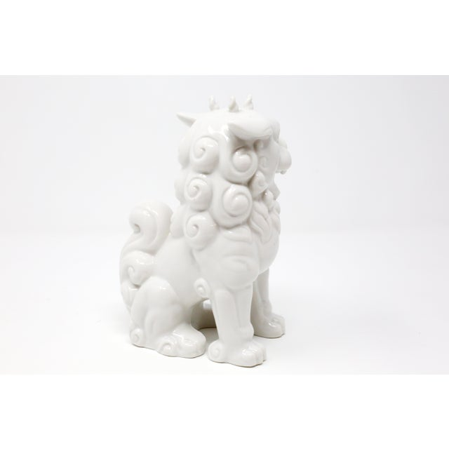 1980s Vintage Blanc De Chine Foo Dog Figurine For Sale - Image 5 of 12