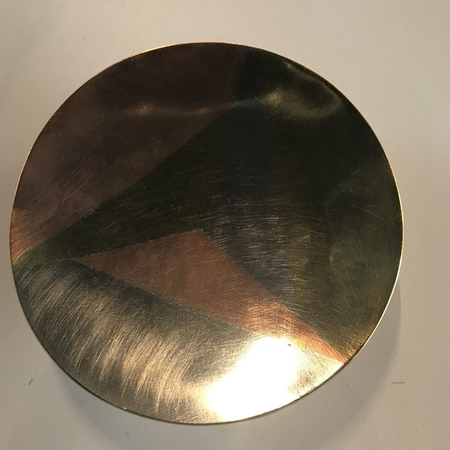 Fabulous mixed metal dish. Copper, brass and silver with ball feet. Stamped Wrough Iron Metals Casados with initials A S.