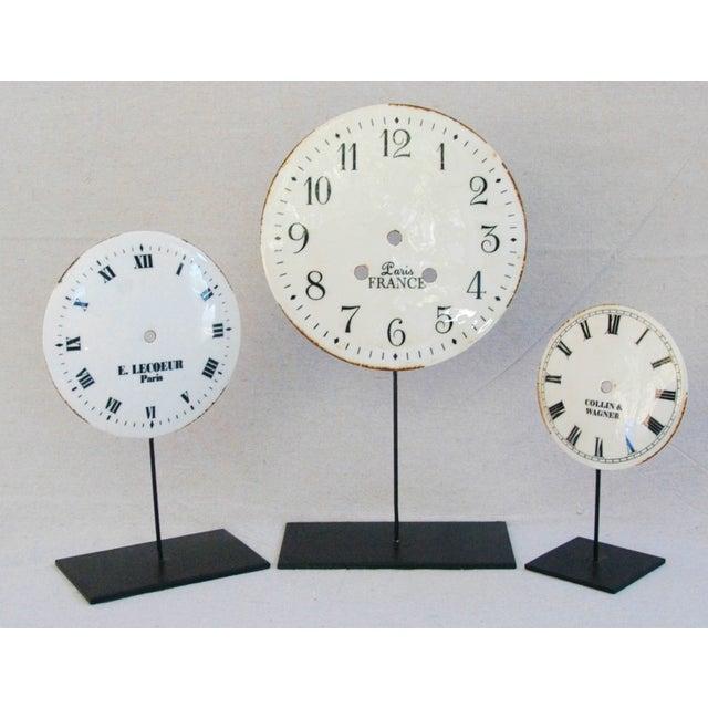 Porcelain & Metal Clock Faces on Stands - Set of 3 For Sale - Image 4 of 10