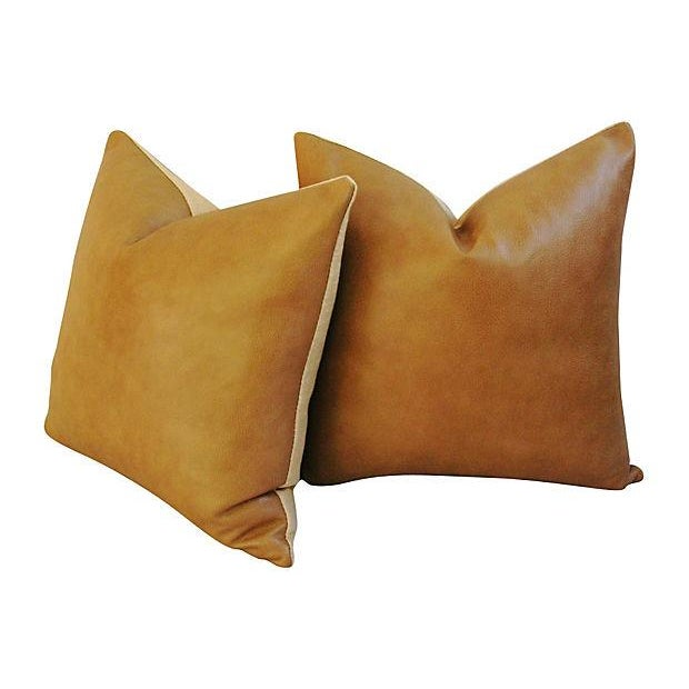 Custom Italian Golden Tan Leather Feather/Down Pillows - a Pair - Image 2 of 5