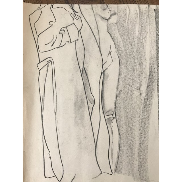 Nude figure study featuring 2 images. One removing trench and the other partial frontal. Signed - joe marfoglia Fair...