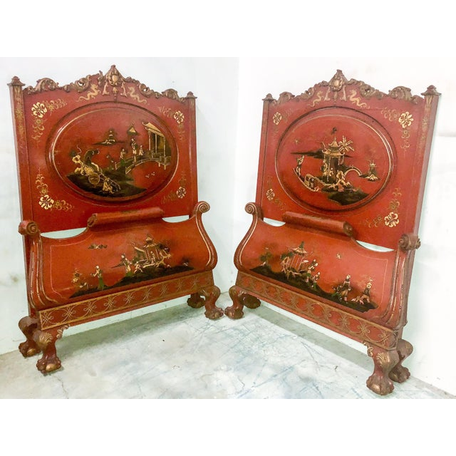 Red Pair of English Chinoiserie Twin Beds For Sale - Image 8 of 9