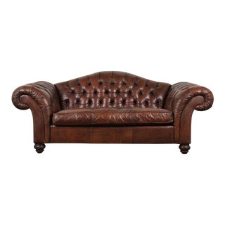 Vintage Chesterfield Tufted Leather Sofa