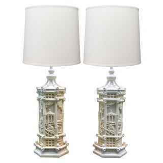 Faux Bamboo Chinese Chippendale Chinoiserie Style Pagoda Lamps - a Pair For Sale