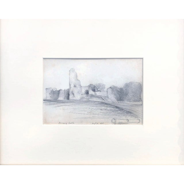 19th Century graphite drawing of the ruins of Pevensey castle. Titled and dated August 21, 1855 lower left and center....