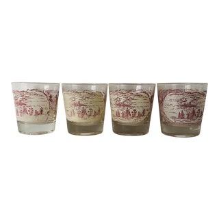 Vintage Paddlewheel Roverboat Bar Glasses (4) For Sale