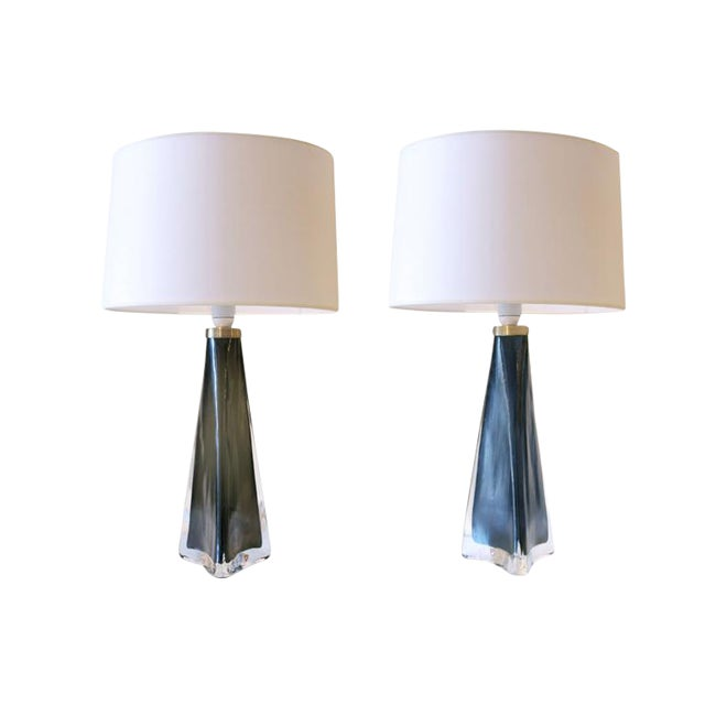 Pair of 1950s Swedish Orrefors Glass Table Lamps For Sale