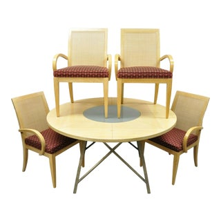 Drexel Heritage Studio Contemporary Modern Blonde Wood Dining Set Table 4 Chairs For Sale
