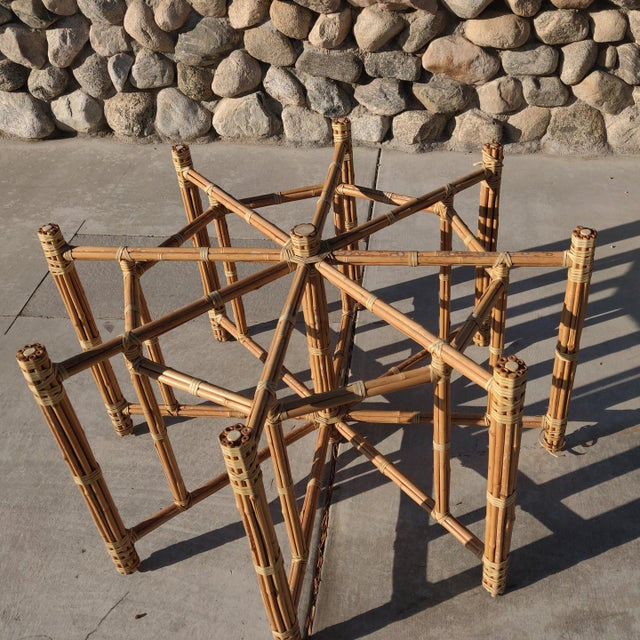 McGuire 1990s Boho Chic Large McGuire Octagonal Bamboo and Rattan Dining Table Base For Sale - Image 4 of 9