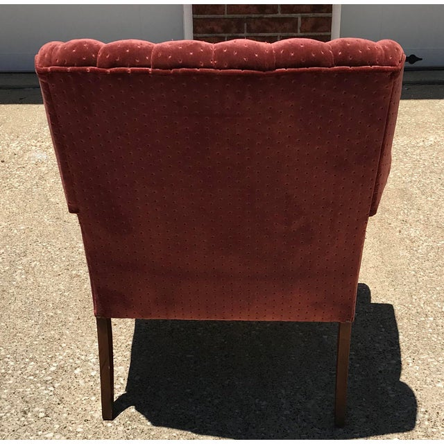 Vintage Velvet Tufted Wingback Chair For Sale - Image 4 of 8