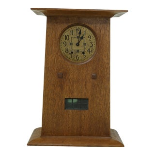 Stickley Mission Oak Arts & Crafts Mantle Clock For Sale