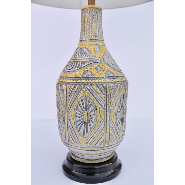 Beautiful Italian Ceramic Table Lamp with fish decorations Gombone with Italian markings on the bottom. Rewired with...