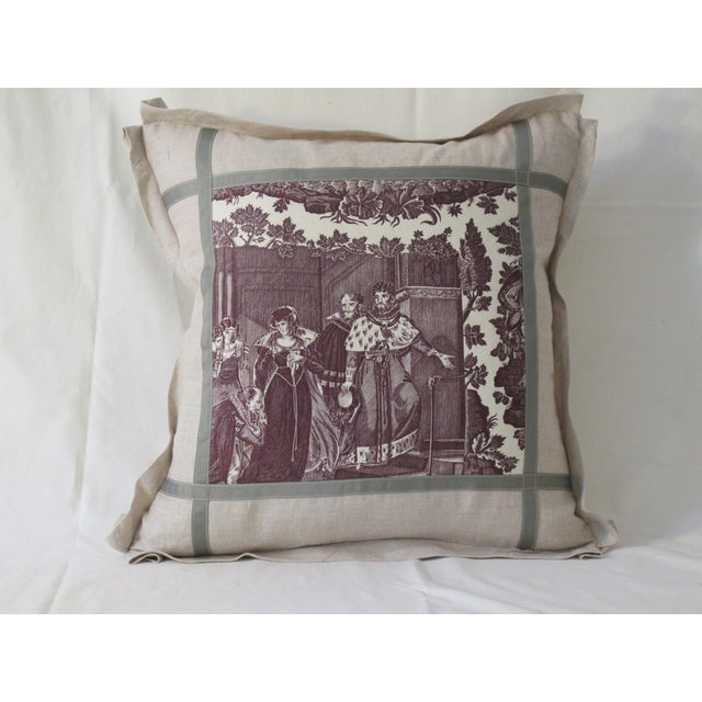 Antique 1880s French Toile Pillow For Sale - Image 4 of 4