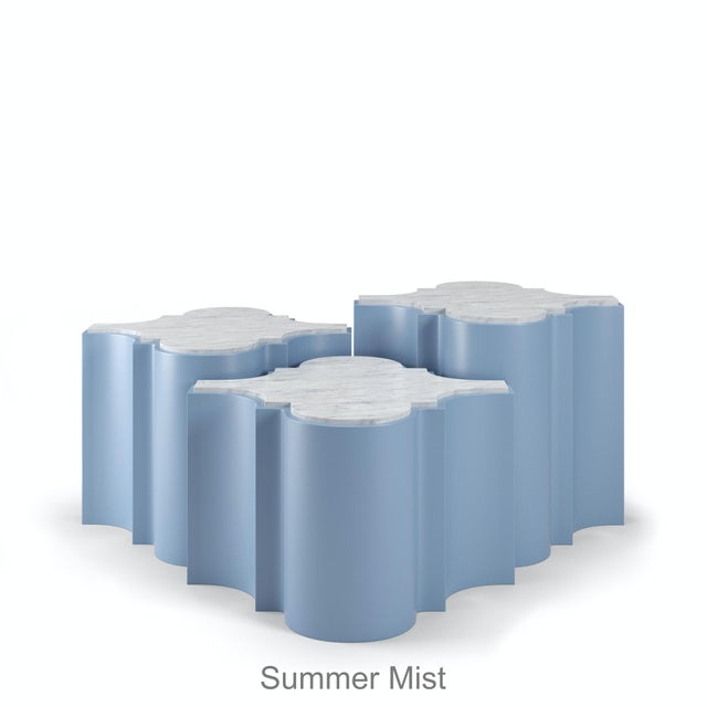 Sofia Nesting Tables, Set of 3 - Summer Mist Blue For Sale In Los Angeles - Image 6 of 6