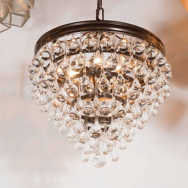 Hollywood Regency Hollywood Regency Crystal Teardrop and Ball Chandelier with Bronze Fittings For Sale - Image 3 of 10