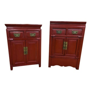Antique Asian Two Drawer Nightstand Chests - a Pair For Sale
