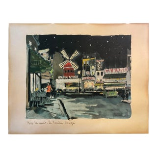 Signed Franz Herbelot Paris Night Scene Watercolor Painting For Sale