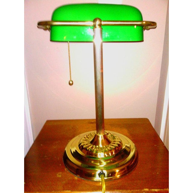 Vintage brass bankers desk lamp with green glass shade chairish vintage brass bankers desk lamp with green glass shade image 3 of 4 aloadofball Gallery