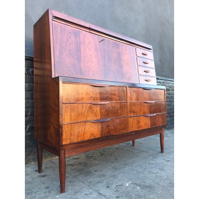 1960s Scandinavian Modern Erling Torvits for Klim Mobelfabrik Rosewood Secretary Desk For Sale - Image 4 of 13