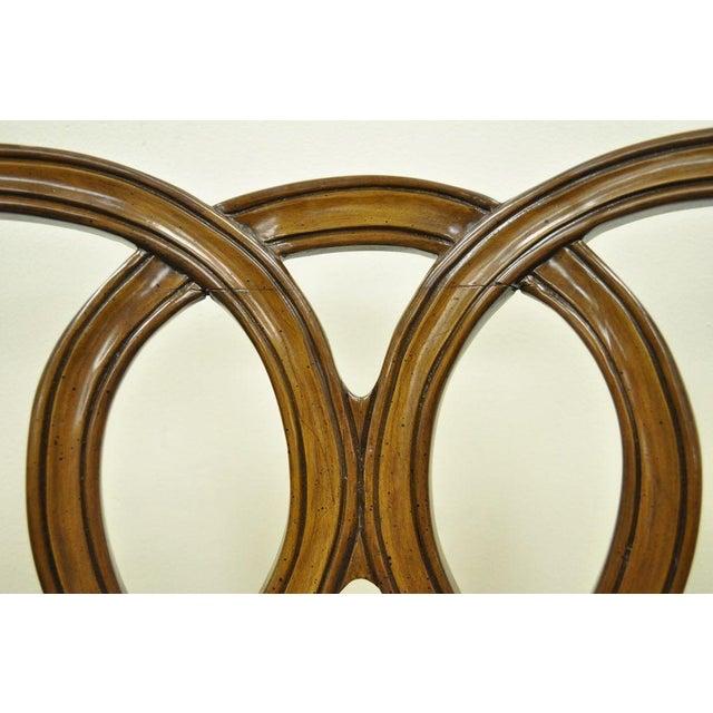 Brown Vintage Hollywood Regency Solid Wood Loop Back Side Occasional Desk Dining Chair For Sale - Image 8 of 11
