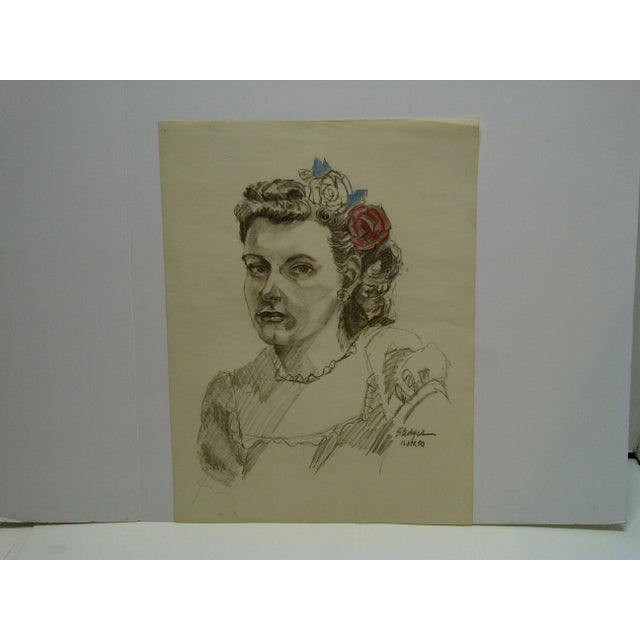 "Mid 20th Century Tom Sturges Jr. 1950 ""Colored Flowers"" Original Drawing For Sale - Image 5 of 5"