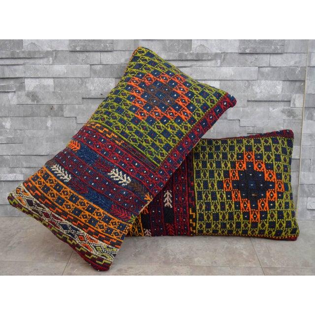 Vintage Turkish Kilim Rug Pillow Covers - A Pair