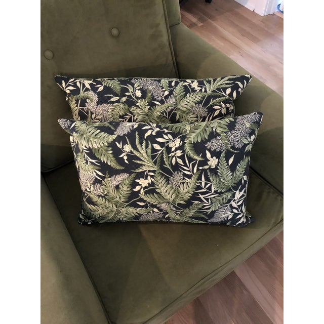 These lumbar pillows are new and custom made. The fabric is from Waverly in a popular greenery motif. One of the pillows...