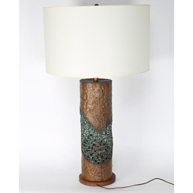 Stunning 1960s Marcello Fantoni brutalist table lamp in hand-hammered copper with an intricate torch-cut lace pattern...