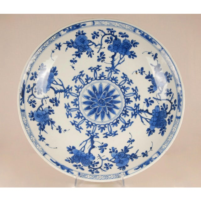 17th Century Antique Chinese Ming Porcelain Blue and White Deep Charger Bowl For Sale - Image 12 of 12