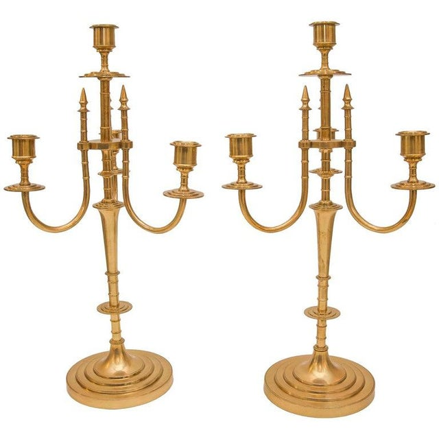 This stylish set of brass candelabrum date to the late 19th century and were acquired in London, England. For information...