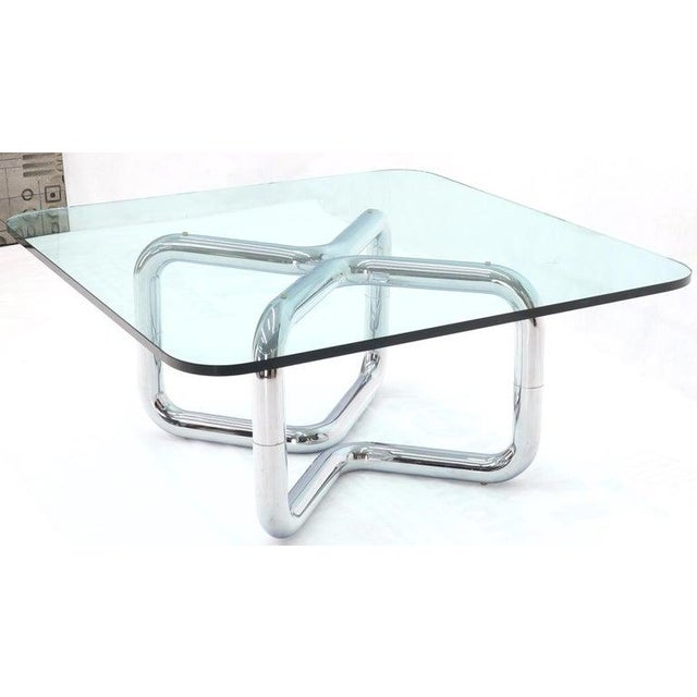 Rounded Corners Square Coffee Table on Thick Bent Tube Chrome Base For Sale - Image 9 of 13