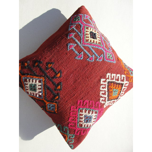 Red Kilim Rug Pillow For Sale - Image 8 of 11