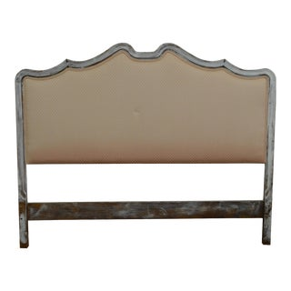 French Provincial Vintage Distressed Painted Upholstered Full Size Headboard