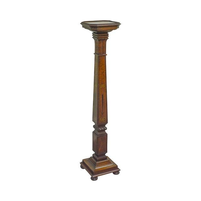Art Nouveau Vintage 1930s Custom Mahogany Inlaid Pedestal For Sale - Image 13 of 13