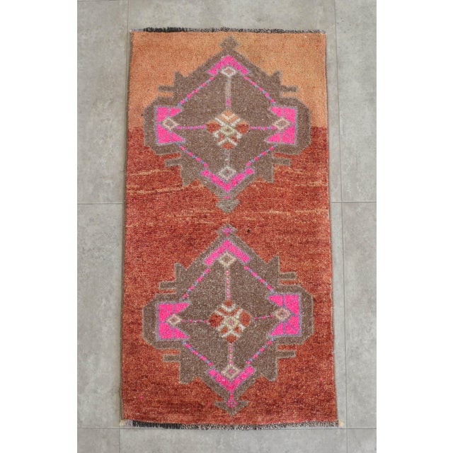 """Offered hand made Small Turkish Rug, flame pea color background """"yastik"""" rug perfect for a small guest bath, laundry,..."""