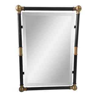 1970s Brass Accented Floating Mirror For Sale