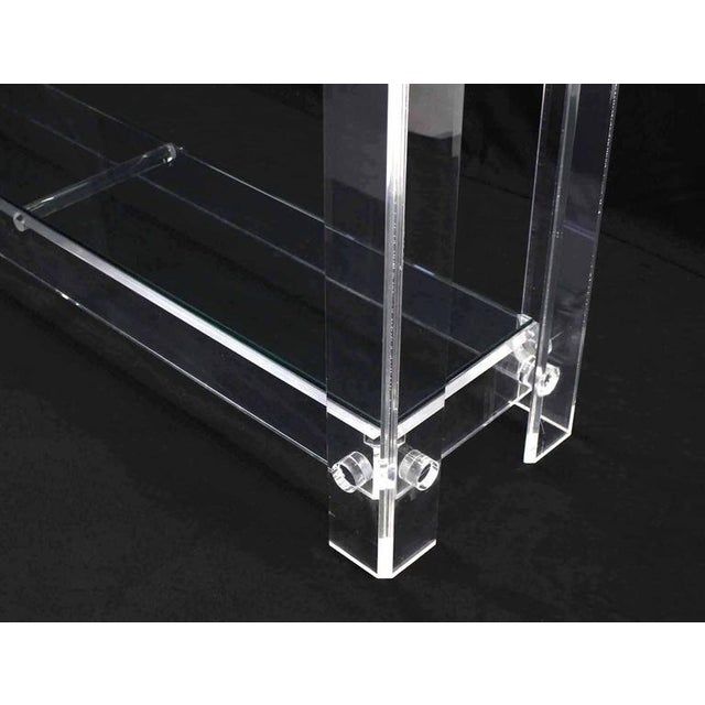 Glass Three-Tier Long Lucite Console Table For Sale - Image 7 of 10