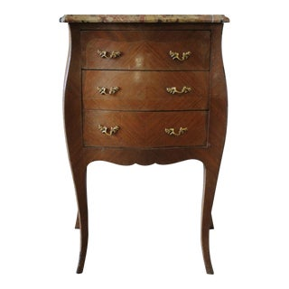 19th Century Italian Inlay Commode Marble Top Side Table
