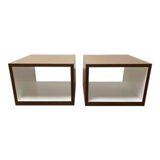 Lauren Rottet for Decca Home Modern Walnut Veneer End Tables - a Pair For Sale