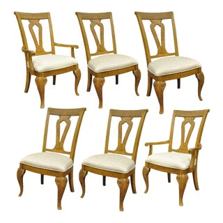 Set of 6 Decorator Mediterranean Tuscany Style Oak Wood Dining Arm Side Chairs For Sale