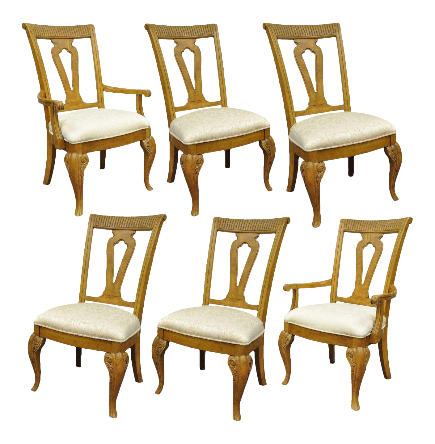 Set Of 6 Decorator Mediterranean Tuscany Style Oak Wood Dining Arm Side  Chairs