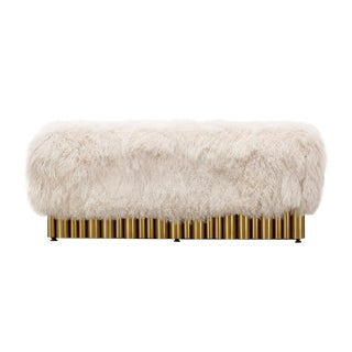 Contemporary Mongolian Fur and Gold Steel Bench
