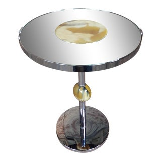 Modern Art Deco Chrome & Glass Mirror Top Round Cocktail Stand For Sale
