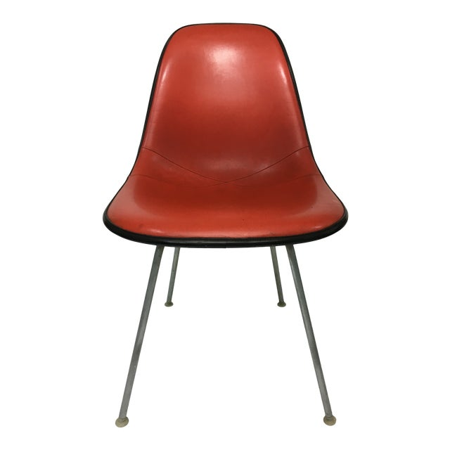 Vintage Molded Side Chair in Burnt Orange Naugahyde by Charles Eames for Herman Miller For Sale