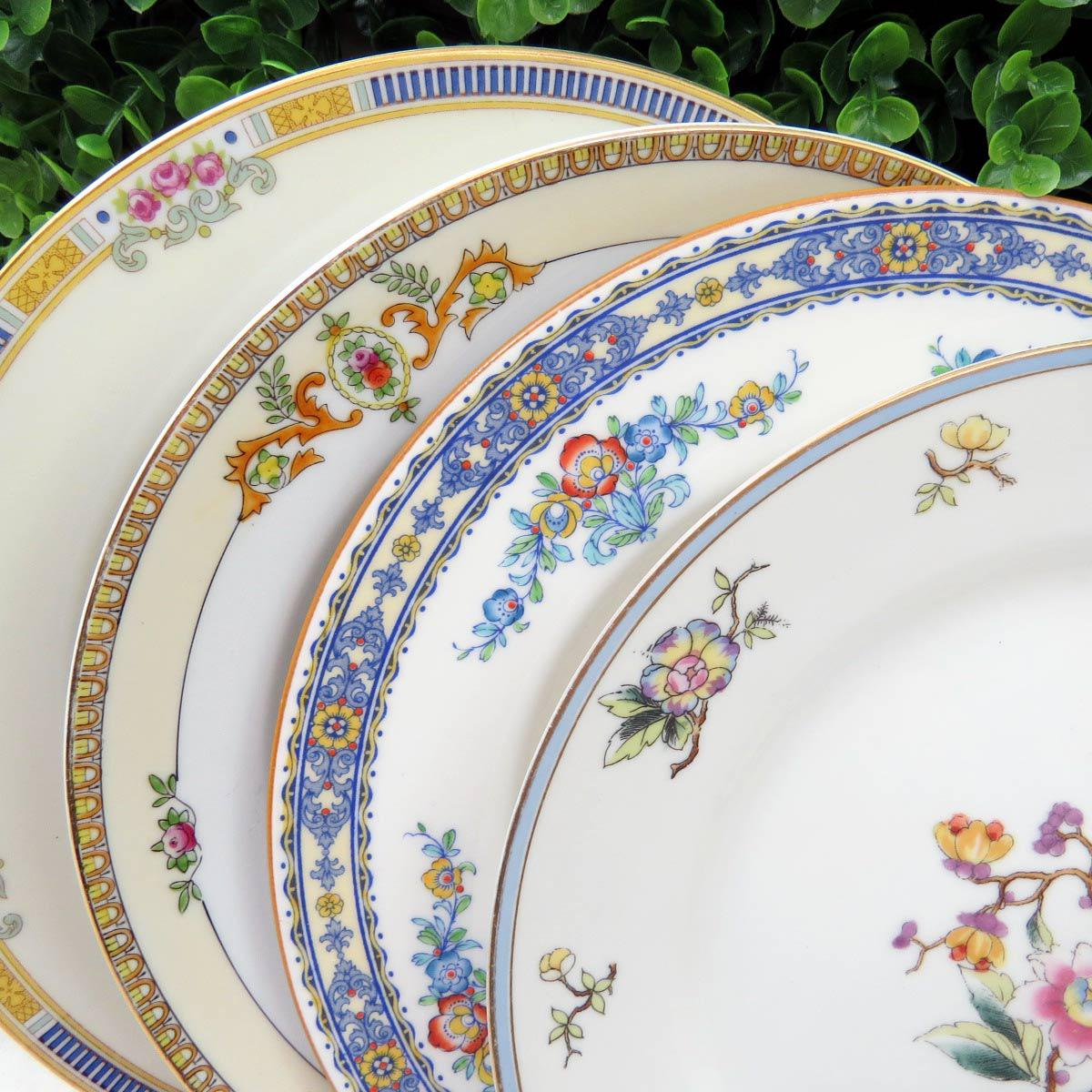 Vintage Mismatched Fine China Dinner Plates - Set of 4 - Image 3 of 11 & Vintage Mismatched Fine China Dinner Plates - Set of 4 | Chairish
