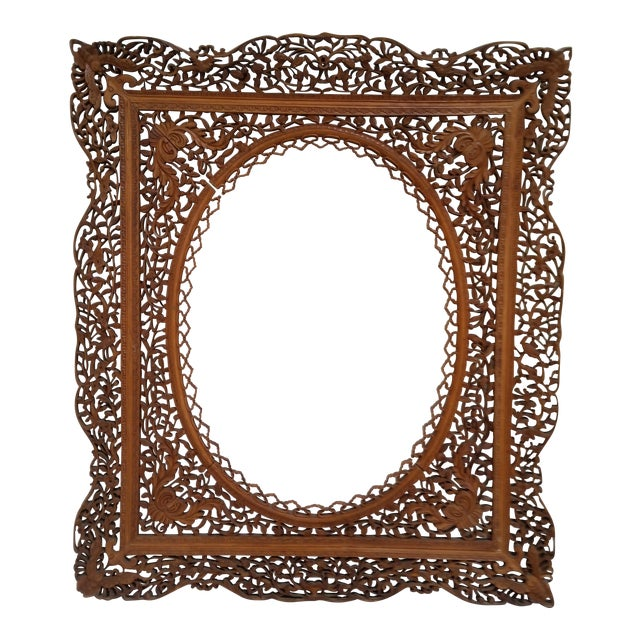 Antique Anglo Indian Carved Wood Frame For Sale