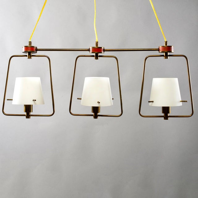 Stilnovo Mid Century Stilnovo Chandelier With Frosted Glass Shades For Sale - Image 4 of 12